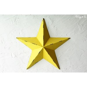 壁飾り STAR L-size Yellow ( アンティーク調 置物 壁掛け 星型 オーナメント ブリキ ) KI|wutty