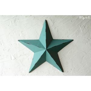 壁飾り STAR L-size Blue ( アンティーク調 置物 壁掛け 星型 オーナメント ブリキ ) KI|wutty