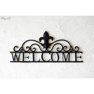 壁飾り Welcome Lily アイアン ( アンティーク調 壁掛け メタルプレート サインプレート ウェルカムサイン )|wutty