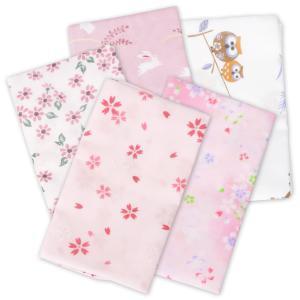 ガーゼ手ぬぐい ハンカチ 5枚セット ピンク系 (サクラ1 サクラ2 小花 和ウサギ (ピンク) フ...