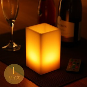 LEDキャンドルライト 角型 Lサイズ 12色点灯 リモコン付き 消灯タイマー付き ゆらぎ照明モード切替 フェイクキャンドル ランタン WY|wystyle