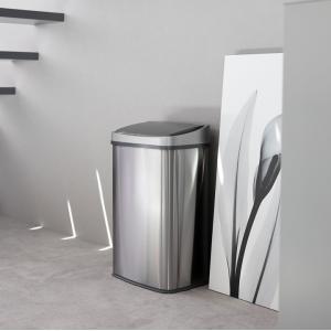 WY 全自動センサー式ダストボックス 大容量50L  ゴミ箱 自動開閉 おしゃれ ステンレス フタ付き リビングS 45Lゴミ袋対応|wystyle