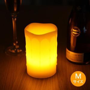 LEDキャンドルライト Mサイズ リモコン付き 消灯タイマー付き ゆらぎ照明モード 明るさ調整機能 本物の蝋が溶けて流れる造形 ろうそく 電池式 WY|wystyle