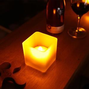 WY LEDキャンドルライト つや消しグラス入り 息の吹きかけでの消灯機能付き ゆらぎ照明 火を使わない安全なフェイクキャンドル 角型 ろうそく 電池式|wystyle