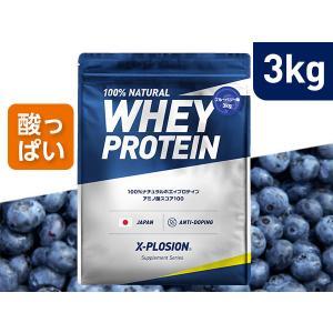 プロテイン エクスプロージョン 100%ホエイプロテイン ブルーベリー味 3kg 日本製 男性 女性 X-PLOSION|x-plosion