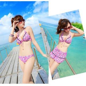 水着 レディース ビキニ 3点セット 花柄 スカート リボン ピンク 体型カバー 女性用 003|x-sports