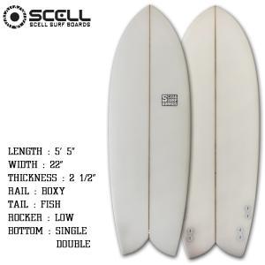 サーフボード ショートボード 5'5 レトロフィッシュ ホワイト フィン付属 サーフィン SCELL x-sports