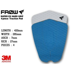 [SALE] デッキパッド サーフィン 4ピース ショートボード ブルー サーフボード デッキパッチ トラクションパッド FROW|x-sports