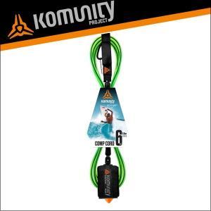 Komunity リーシュコード 6f 6フィート サーフィン ショートボード用 KP 6' COMP LEASH - 6MM - LIME サーフボード|x-sports