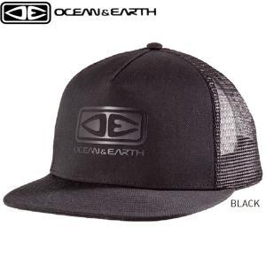キャップ 帽子 サーフキャップ メッシュキャップ ブラック ロゴトラッカー サーフィン マリンスポーツ 海水浴 LOGO TRUCKER OCEAN&EARTH x-sports