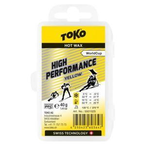 トコ TOKO ワックス WAX スキー スノーボード クロスカントリースキー フッ素高含有 ハイフッ素 ハイパフォーマンス イエロー 40g 5501025 クリックポスト対応可|xc-ski