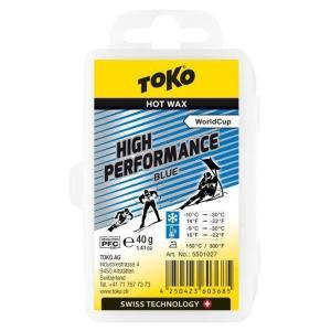 トコ TOKO ワックス WAX スキー スノーボード クロスカントリースキー フッ素高含有 ハイフッ素 ハイパフォーマンス ブルー 40g 5501027 クリックポスト対応可|xc-ski