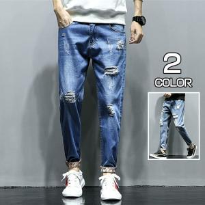ジーンズ デニム メンズ テーパードパンツ ダメージ加工 デニムパンツ ジーパン ボトムス ストリート系 新作|xhkyafu-ten