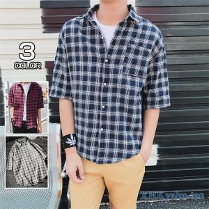 チェックシャツ 開襟シャツ メンズ カジュアルシャツ 半袖シャツ おしゃれ ゆったり チェック柄 夏 サマー|xhkyafu-ten