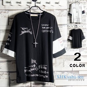 Tシャツ 大きいサイズ 半袖Tシャツ メンズ 夏物 トップス プリントTシャツ 切り替え ティーシャツ 夏 サマー|xhkyafu-ten