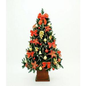 クリスマスツリー 150cmレッドワイドウッドポットツリーSET