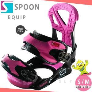 スノーボード ビンディング スノボー バインディング メンズ レディース SPOON スプーン EQUIP 19-20 グラトリ 軽量 黒 ピンク / 板と同時購入で取付無料|xover-int