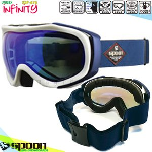 スノーボード スキー ゴーグル メンズ レディース スノーゴーグル SPOON(スプーン) INFINITY ミラー加工 くもり止め ダブルレンズ 球面レンズ ヘルメット対応 白|xover-int