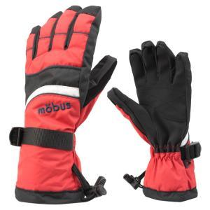 ジュニアボーイズ スキーグローブ mobus(モーブス) 2016-2017モデル ボードグローブ 手袋 防寒 男の子 レッド 〔gmob370-red〕|xstyle