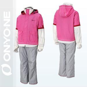ONYONE(オンヨネ)ボーイズ・ガールズスキーウェア 重ね着風アメカジ ジュニアスキースーツ  ピンク*オフホワイト/グレー (res74nt1c-962270003) xstyle