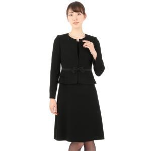 オールシーズン用 ブラック系  ノーカラー ぺプラムアンサンブル Miss JUNKO|y-aoyama