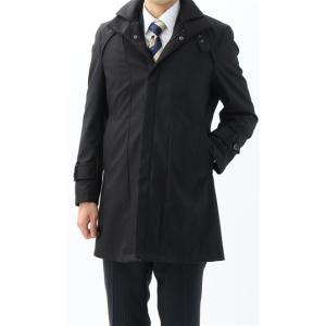 スリーシーズン用 ブラック系  アウトレット 現品限り 合繊  スタンドカラー  ハーフ スタイリッシュコート PERSON'S FOR MEN|y-aoyama