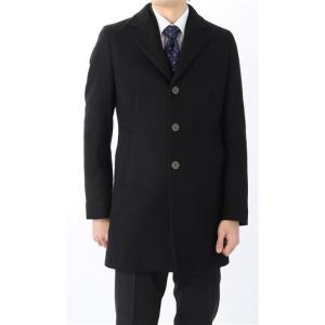 秋冬用 ブラック系  アウトレット 現品限り ウール混  シングルチェスター スタイリッシュコート PERSON'S FOR MEN|y-aoyama