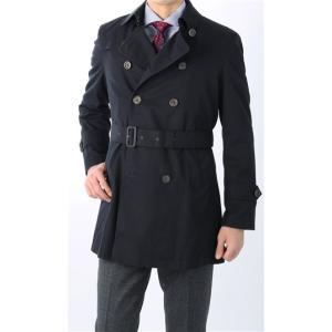スリーシーズン用 ネイビー系  アウトレット 現品限り 綿100%  ダブルトレンチ スタイリッシュコート PERSON'S FOR MEN|y-aoyama