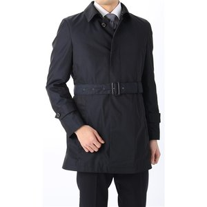 スリーシーズン用 ネイビー系  アウトレット 現品限り 合繊  ステンカラー スタイリッシュコート PERSON'S FOR MEN|y-aoyama