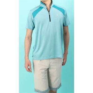 盛夏用 ブルー系  アウトレット 現品限り 清涼(R) カジュアルジップポロシャツ US PGA TOUR|y-aoyama