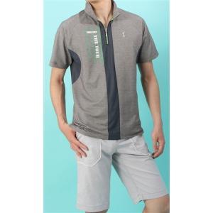 盛夏用 グレー系  アウトレット 現品限り UVカット カジュアルジップポロシャツ US PGA TOUR|y-aoyama