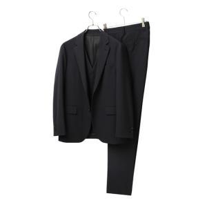 春夏用 ブラック系 スタイリッシュスーツ【スリーピース】 DESCENTE 洋服の青山PLUS