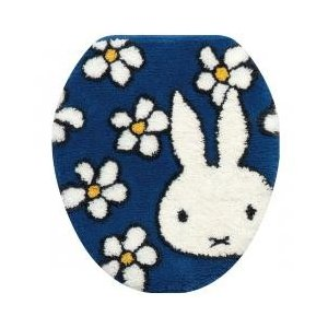 miffy / トイレ用品 / ミッフィー フラワーダンス 普通便座用ふたカバー ブルー 洗える か...