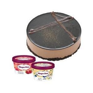 ホールケーキ(冷凍)のベルギーチョコムース とハーゲンダッツの期間限定のミニカップ(バニラ・ストロベ...