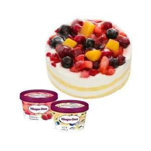 ホールケーキ(冷凍)のクワトロベリートルテ とハーゲンダッツの期間限定のミニカップ(バニラ・ストロベ...
