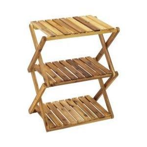 ・折りたたんでコンパクトに収納できる3段木製ラック・キャンプサイトの収納棚として使い勝手がよく、おし...