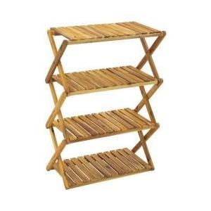 ・折りたたんでコンパクトに収納できるワイドタイプな4段木製ラック・キャンプサイトの収納棚として使い勝...