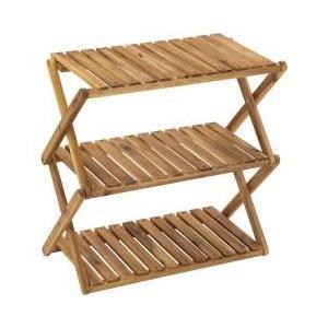 ・折りたたんでコンパクトに収納できるワイドタイプな3段木製ラック・キャンプサイトの収納棚として使い勝...