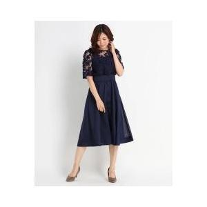 レースとシアーシャンタンのドッキングドレス。シルクのような上品な光沢感と薄くしなやかなシャンタン素材...