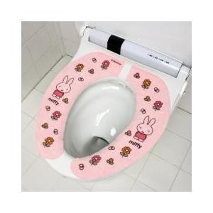 miffy / トイレ用品 / ミッフィー フラワーズ 吸着便座シート ピンク 洗える 便座カバー ...