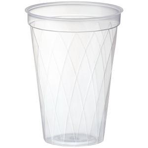 旭化成パックスのテイクアウト用のプラカップ。表面のダイヤ柄カットが中身のドリンクをキラキラきれいに見...