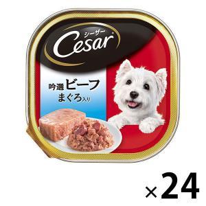 ワゴンセール/シーザー(Cesar)犬用 吟選ビーフ マグロ100g 24個 ドッグフード ウェット...
