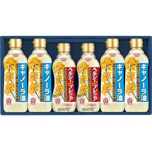 ヘルシープレミアとキャノーラ油の詰め合わせ。日常使いにおすすめの商品です。こちらの商品はギフト包装さ...