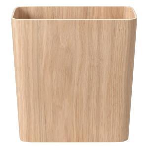 木目の美しいオーク材を突板に使い、省スペースの長方形に曲げ加工しました別売りのフタは四方から開けられ...
