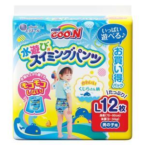 エリエールのグーンスイミングパンツLサイズは水遊び用の使いきりタイプ水着。紙おむつと違って水にぬれて...