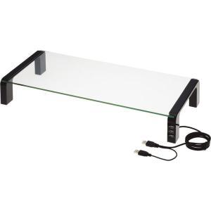 デスク周りを上手に活用耐久性の高い強化ガラスを天板に採用した机上台です。前面にUSB2.0を3口備え...