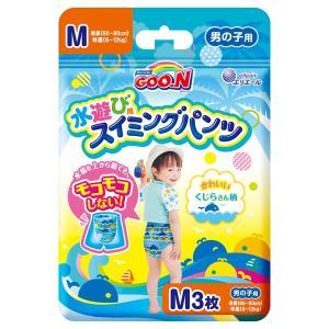 エリエールのグーンスイミングパンツMサイズは水遊び用の使いきりタイプ水着。紙おむつと違って水にぬれて...