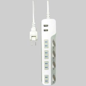 TOPLAND USB付き節電タップ 2P式 4個口 USBポート×2 合計出力2.4A 1.5m 個別スイッチ付 ほこり防止シャッター付 M4214 OAタップ・延長コードの商品画像