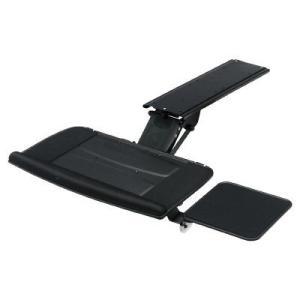 デスクに簡単に取り付けできるキーボードスライダー。角度・高さの調整が可能。マウステーブル付き。木製デ...