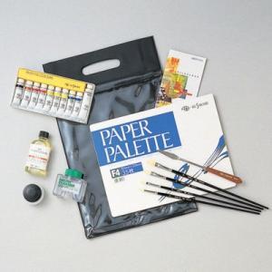 スクールセットの内容: スクールバッグA(ビニール製)、ペーパーパレット(F4)、油絵具4S-10、...